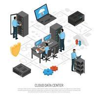 isometric cloud datacenter vector