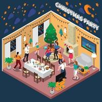 party celebraion people isometric composition vector