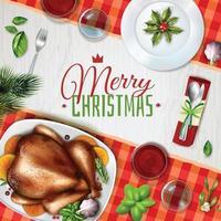 realistic turkey christmas illustration vector