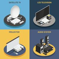home theater isometric 2x2 vector