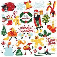 christmas happy new year set vector