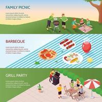 family picnic horizontal banners vector