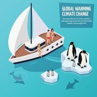 isométrico del calentamiento global vector