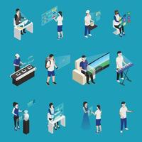 augmented reality isometric people icons vector