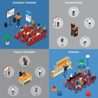 public speaking presentation people isometric 2x2 vector