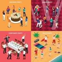 party celebraion people isometric 2x2 vector
