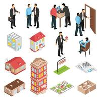 isometric real estate agency set vector