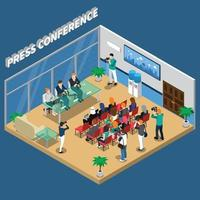public speaking presentation people isometric composition vector