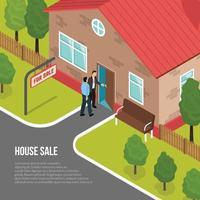 ilustración isométrica de la agencia inmobiliaria vector