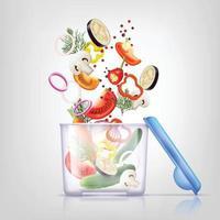 Recipientes de plástico para alimentos y verduras realistas. vector