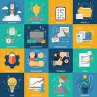 startup project development concept icons vector