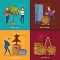winery wine production cartoon 2x2 vector