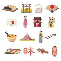 Japan orthogonal icons vector