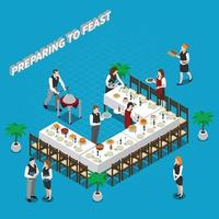 catering isometric composition vector