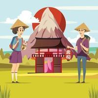 Japan travel background vector
