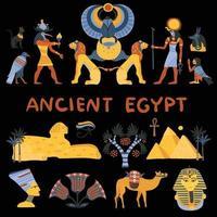 conjunto negro egipcio vector