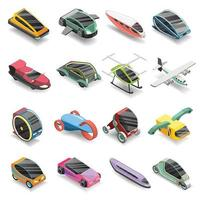 Future transport isometric icons vector