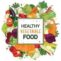 impresión de marco de verduras vector
