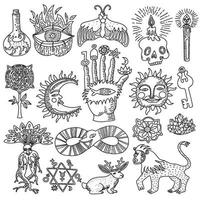 trendy alchemy magic religion tattoo outlines set vector