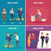 poor needy pauper people cartoon 2x2 vector