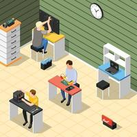 Service centre isometric background vector