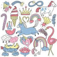 cute magic unicorn rainbow fairy crystals set vector