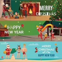 new year christmas people traditions horizontal banners vector