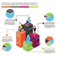infografía de personas de estrés y depresión vector