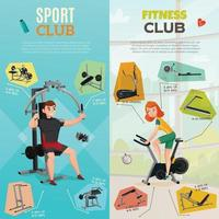 exercise equipment gym banners vector