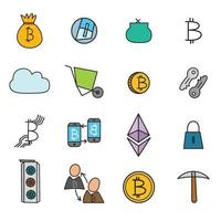 cryptocurrency bitcoin icons set vector
