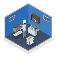 Professional kitchen interior isometric composition vector