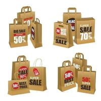paper shopping sale bags vector