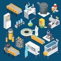 Pharmaceutical production isometric icons vector