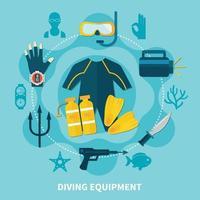 Diving flat illustration vector
