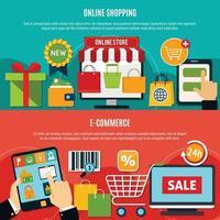 conjunto de banners de comercio electrónico vector