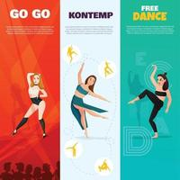 tipos modernos bailan pancartas verticales vector