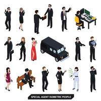 special agent spy isometric people vector