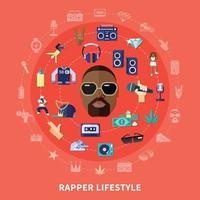 música rap plana vector