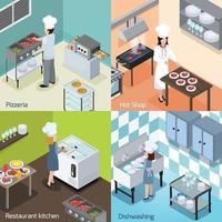 Professional kitchen interior isometric 2x2 vector