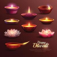 celebración de diwali conjunto transparente vector