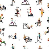 exercise equipment gym seamless pattern vector