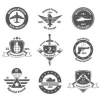 military emblems set vector