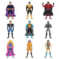 superhero costumes set vector