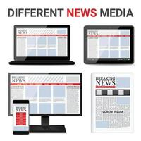 periódico con diferentes medios de comunicación. vector