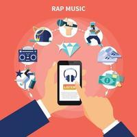 Rap music flat vector