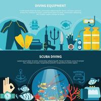 Diving banner set vector