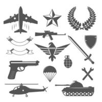 military emblems elements vector