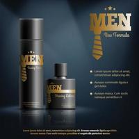 composición realista de cosméticos masculinos vector