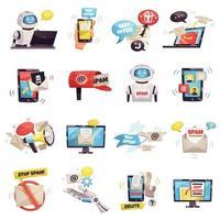 conjunto de anuncios de malware de bot de spam vector