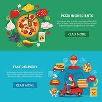 conjunto de banner de pizza vector
